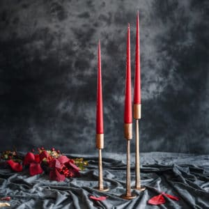 Hand Dipped Taper Candles Cranberry