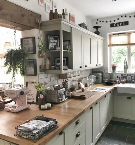 homely kitchen with art and collected objects