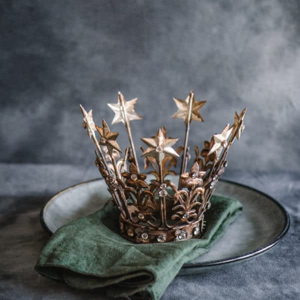 Antique jewelled winter crown decoration