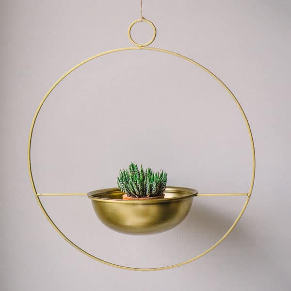 brass circular hanging planter