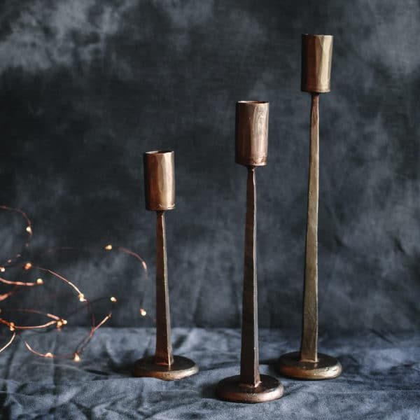 Hand Forged Candleholder Trio