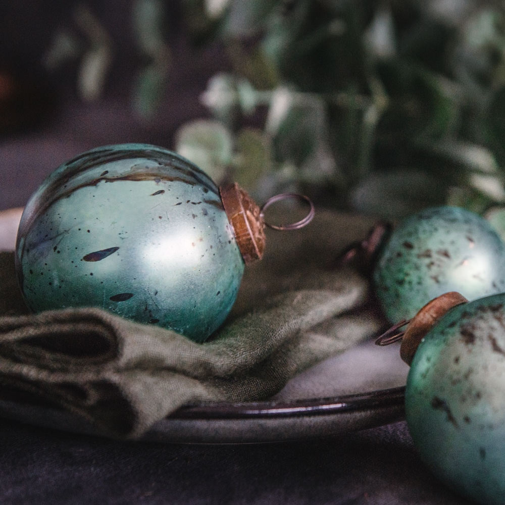 Pale Teal Hand Marbled Bauble Set of 3 Lifstyle 4