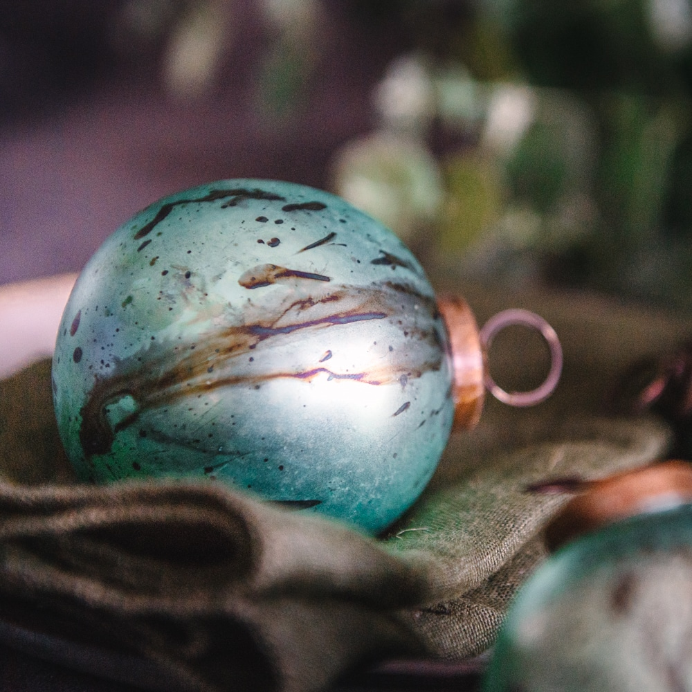 Pale Teal Hand Marbled bauble set of three Lifestyle 2
