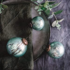 Set of Three Hand Decorated Teal Christmas Baubles
