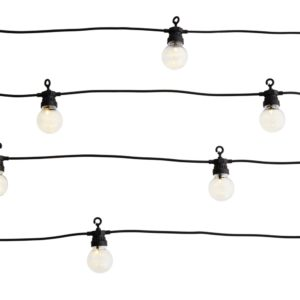 Led indoor and outdoor party lights on black cord.  Cutout image on white background.