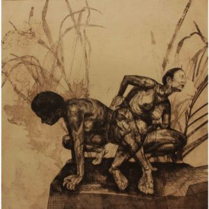Original Etching by Kane McLay - 'Forage' in sepia colour 3