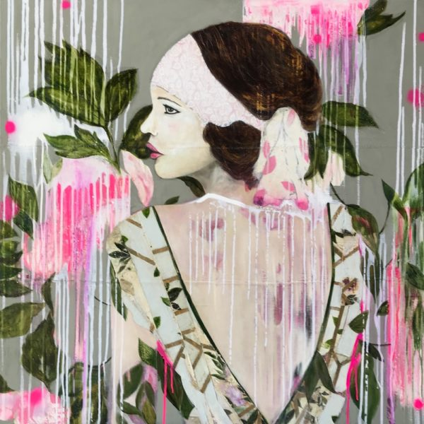 Original Painting by Karenina Fabrizzi - 'Girl with a Pale Blue Dress'.  Mixed media on canvas featuring a female figure against a background of wild florals.