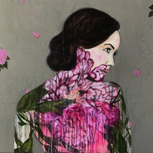 Original Painting by Karenina Fabrizzi - 'Pink Ensemble'. Mixed media on canvas featuring a female figure against a background of wild florals.