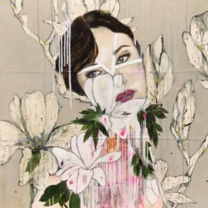 Original Painting by Karenina Fabrizzi - 'Tresor'.  Mixed media on canvas featuring a female figure against a background of wild florals.