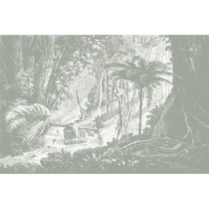 Amazonia wall mural by Feathr in grey colour.  Full mural image.
