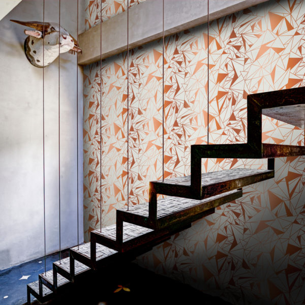 Crystallise Wallpaper by Feathr in copper colour with staircase