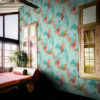 Dreamscape Wallpaper by Feathr in Aquamist colour with window