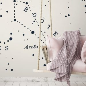 Great Bear Little Lion wall mural by Feathr in cream colour.  Lifestyle image.