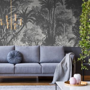 Lost in Goa Wallpaper Mural by Feathr in Monochrome colour.  Lifestyle image.
