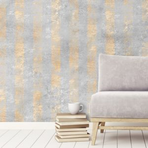 Shimmer Strip wallpaper by Feathr in gold colour - lifestyle image 2.