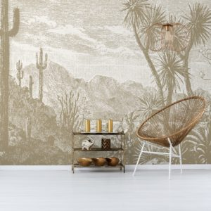 The Oasis wall mural by Feathr in Tan colour.  Full mural image.