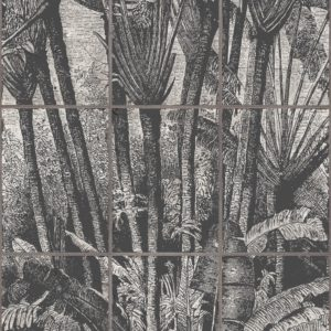 The Palm Grove wallpaper by Feathr in Vintage colour.  Closeup  image of wallpaper design.