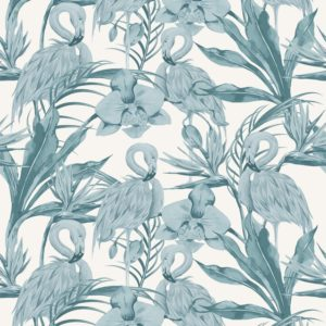 The Tropical Shore wallpaper by Feathr in Blue colour.  Closeup  image of wallpaper design.