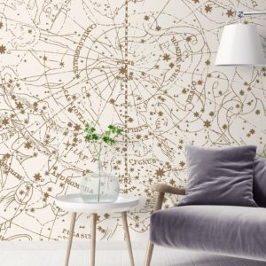 Visible Heaven wall mural by Feathr in vintage white colour.  Lifestyle image.