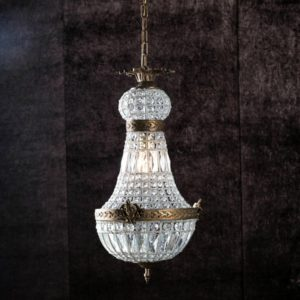 Curious Egg Celestine extra small size chandelier dark lifestyle image.