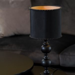 Curious Egg Chrissie Studded 19 centimetre diameter lampshade in black colour lifestyle image - pictured with noro lamp base.
