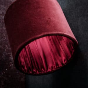 red velvet lampshade with silk pleats