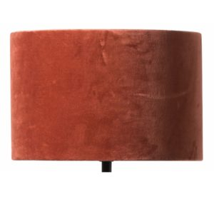 Curious Egg Papillon Pleated Silk and Velvet 38 centimetre diameter lampshade in rust colour cutout image
