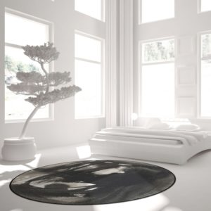 Curious Egg Ink Flow no. 1 Rug - lifestyle image with white bedroom