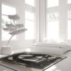 Curious Egg Ink Flow no. 2 Rug - lifestyle image with white bedroom