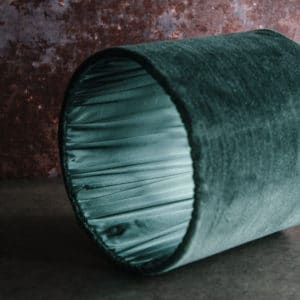 green velvet lampshade with pleated interior