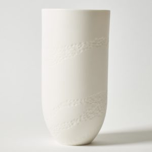 Sibling Vase by Speckled Grey - Rye. Porcelain vase with Rye pattern. Cutout image with white background.
