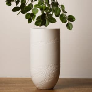 Sibling Vase by Speckled Grey - Rye. Porcelain vase with Rye pattern. Lifestyle image with plants.