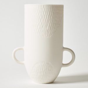 Sibling Vase by Speckled Grey - Scallop. Porcelain vase with scallop finish and handles. Cutout image with white background.