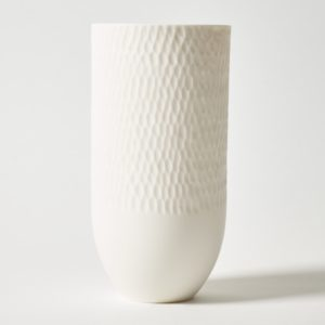 Sibling Vase by Speckled Grey - Scallop 2. Porcelain vase with scallop pattern finish. Cutout image with white background.