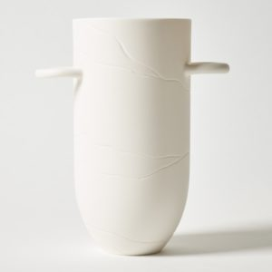 Sibling Vase by Speckled Grey - Vein. Porcelain vase with vein pattern and handles. Cutout image with white background.