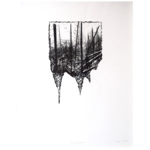 Framed Limited Edition Etching by Drew Mackie - Annihilation. Cutout image of artwork on white background.