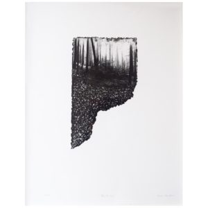 Framed Limited Edition Etching by Drew Mackie - Bleakness. Cutout image of artwork on white background.