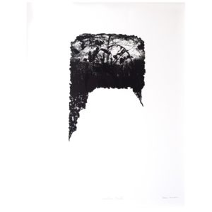 Framed Limited Edition Etching by Drew Mackie - Sombre Field. Cutout image of artwork on white background.