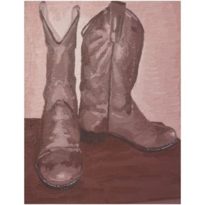 Original Painting by Elliott Cookson - Boots of Leather #1. Cutout image of artwork on white background.