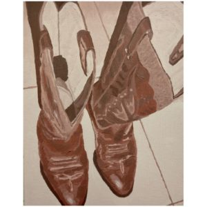 Original Painting by Elliott Cookson - Boots of Leather #2. Cutout image of artwork on white background.