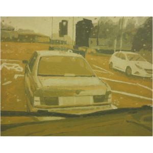 Original Painting by Elliott Cookson - Traffic in the Rain. Cutout image of artwork on white background.