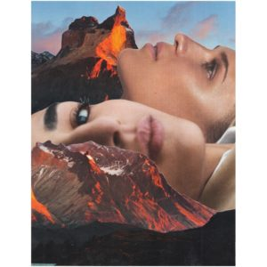 Framed Mixed Media Collage by Mhairi Cormack - They Look to The Mountains. Cutout image of artwork on white background.