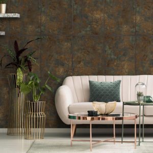 Feathr Bacchus wallpaper lifestyle image with a cream sofa in the foreground