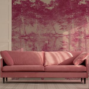 Feathr Swan wallpaper mural in Rose colour. Lifestyle image with pink sofa in the foreground.