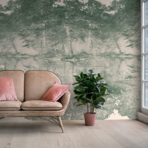 Feathr Swan wallpaper mural in Vert colour. Lifestyle image with sofa and plat in the foreground.