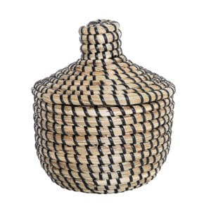African style lidded woven basket with black stripes