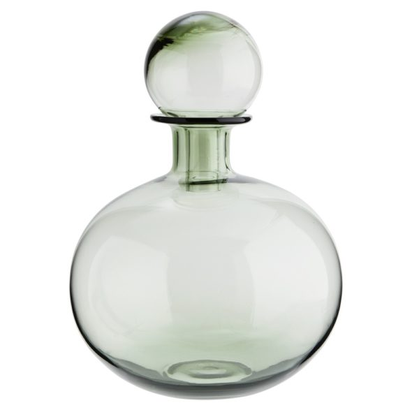 Curious Egg Venus Sage Green Glass Decanter.  Cutout image against white background.