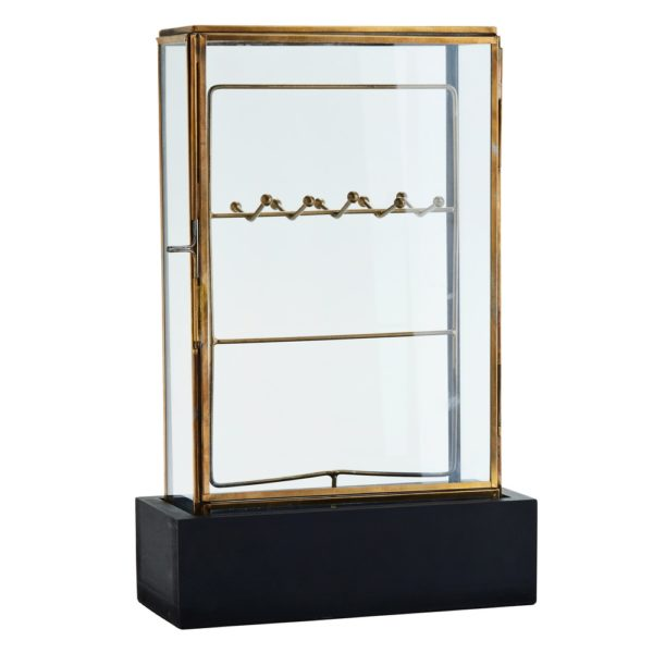 Curious Egg Vintage Brass Jewellery display case.  Cutout image on white background.