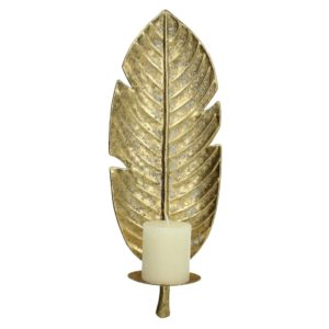 Curious Egg Golden Banana Leaf Wall Sconce Cutout image on white background.