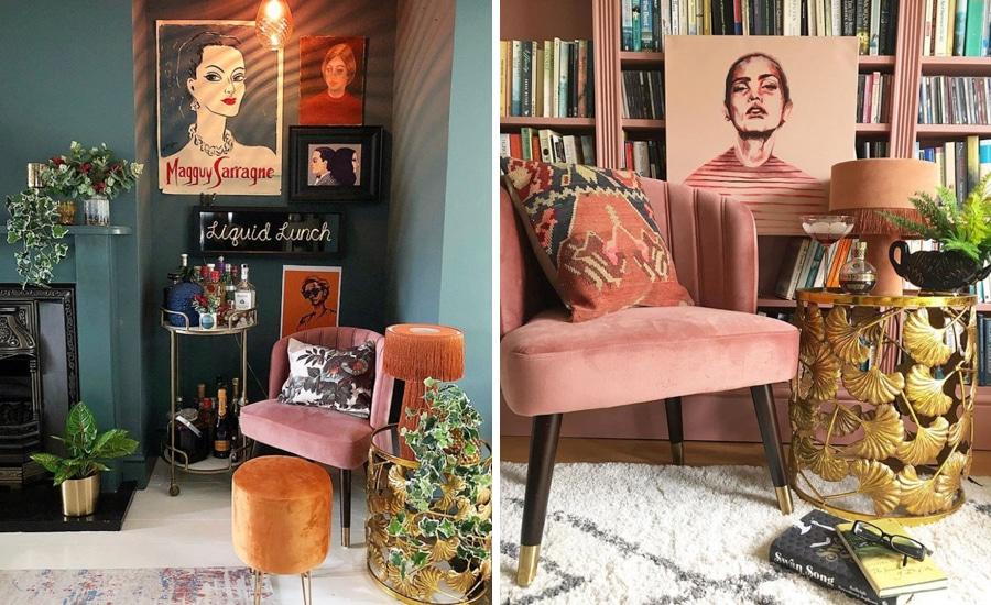 Lou Watkins mid century art filled home
